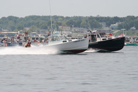 Two lobster boats racing